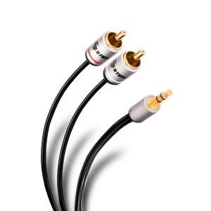 Cable conector 3,5 mm a 2 conector RCA de 90 cm, ultradelgado y conectores reforzados