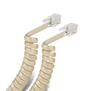 Cable espiral plug a plug RJ9 de 4.5m, para auricular telefónico, marfil