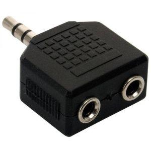 Adaptador de conector 3,5 mm a 2 jacks 3,5 mm, estéreo