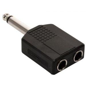 Adaptador de conector 6,3 mm a 2 jacks 6,3 mm, monoaural