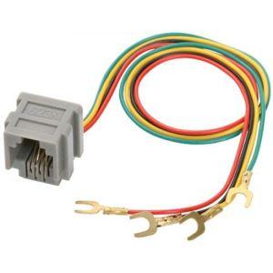 """Jack RJ11 con 4 toma corrientes y cables con terminales tipo """"U"""""""