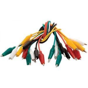Juego de 10 cables de 26 cm con caimanes chicos