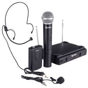 Sistema de 2 micrófonos inalámbricos VHF, de mano y solapa o diadema
