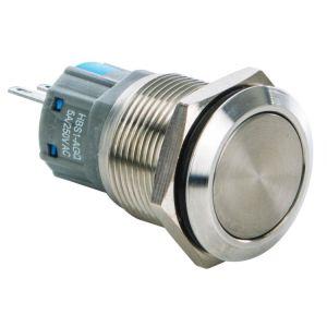 Switch de push, con botón redondo metálico, normalmente abierto o normalmente cerrado