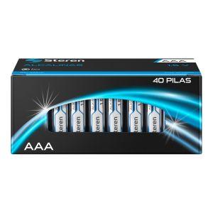 "Paquete de 40 pilas alcalinas ""AAA"""