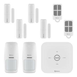 Sistema de seguridad Wi-Fi* con alarma, 6 sensores y 2 controles remoto