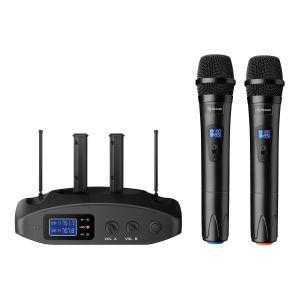 Sistema profesional de 2 micrófonos inalámbricos UHF, con batería recargable